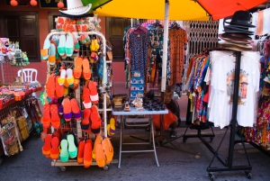 cheerful coloured clogs and trinkets